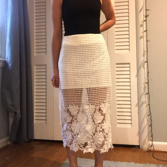 J.O.A. Dresses & Skirts - white lace overlay skirt